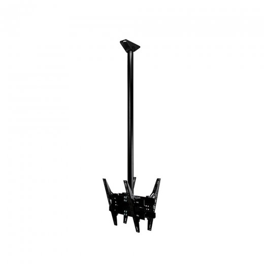 B-Tech Back-to-Back Flat Screen Ceiling Mount with Tilt 1m Pole Black
