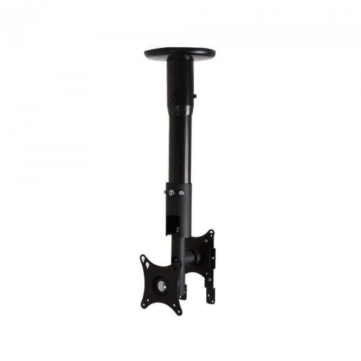 B-Tech Back-to-Back Flat Screen Desk Ceiling Mount - 1m Pole Black
