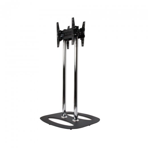 B-Tech Back-to-Back Flat Screen Floor Stand - 1.5m Black/Chrome