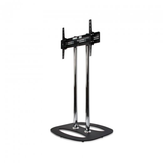 B-Tech Flat Screen Floor Stand - 1.1m Black/Chrome