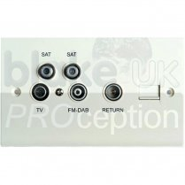 Blake UK Triplexed TV/FM/SAT and 2nd Sat Downlink Outlet Plate