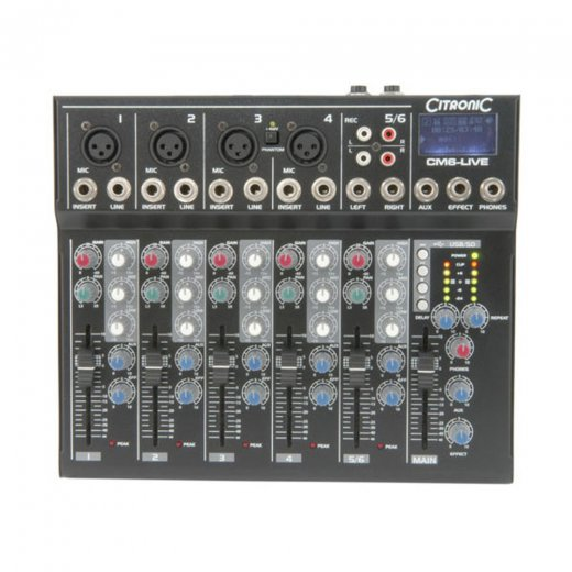 Citronic CM6-LIVE Compact Mixer 6 channel + USB/SD Player
