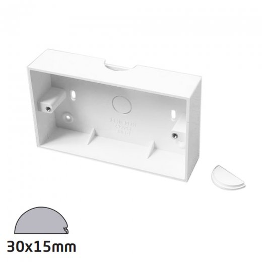 D-Line 30x15mm - 28mm twin surface Box  - White
