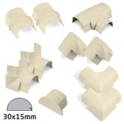 D-Line 30x15mm Magnolia Trunking Accessory Kit (10 Piece)