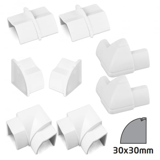 D-Line Quadrant 30x30mm White Trunking Accessory Kit (8 Piece)