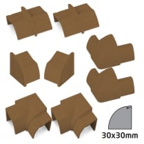 D-Line Quadrant 30x30mm Wood Effect Trunking Accessory Kit (8 Piece)