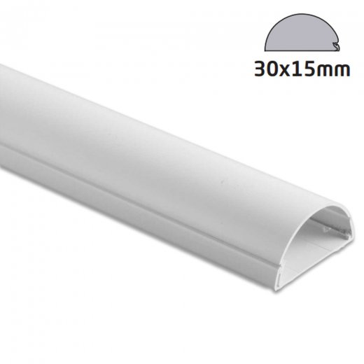 D-Line Semi-circular Trunking 30x15mm - 2.0m Length - White