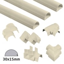 D-Line Magnolia Semi-circular Trunking 30x15mm Kit - 6 Metres with 9 Accessories