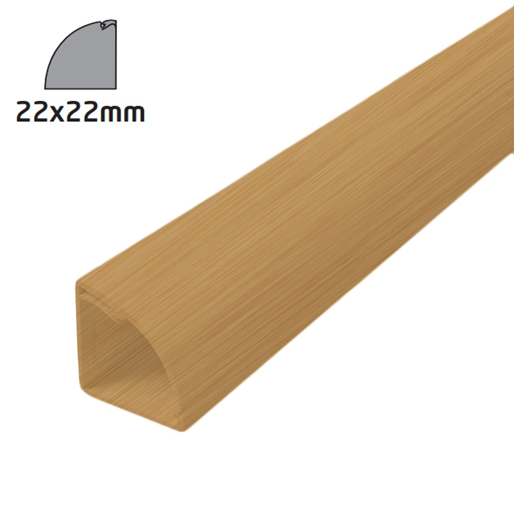 D line quadrant trunking 22x22mm 2m length stainable wood for Floor quadrant