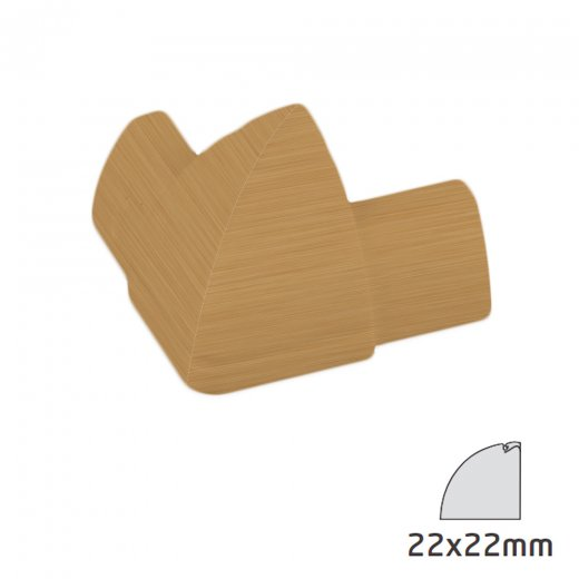 D-Line Quadrant Trunking Accessory 22x22mm - External Bend - Stainable Wood