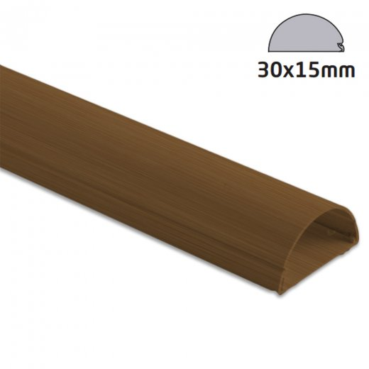 D-Line Semi-circular Trunking 30 x 15mm - 2.0m Length - Wood Effect