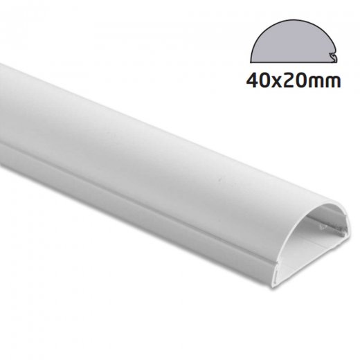 D-Line Semi-circular Trunking 40x20mm - 2.0m Length - White