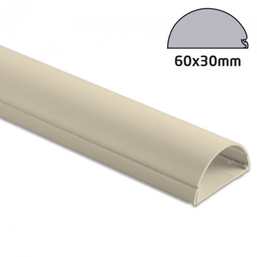 D-Line Semi-circular Trunking 60x30mm - 1.5m Length - Magnolia