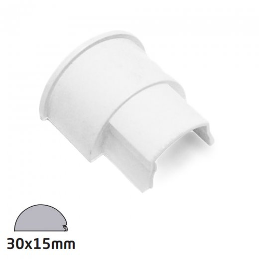 D-Line Semi-circular Trunking Accessory 30x15mm - Box adaptor - White
