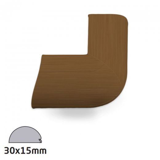 D-Line Semi-circular Trunking Accessory 30x15mm - External Bend Clip-Over - Wood Effect