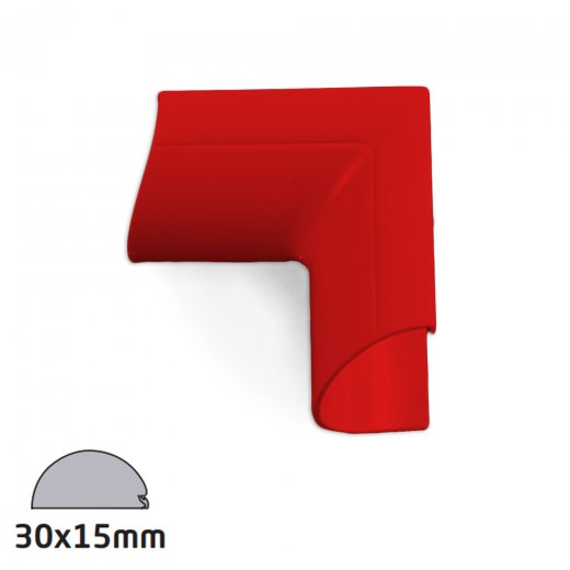 D-Line Semi-circular Trunking Accessory 30x15mm - Internal Bend Clip-Over - Red