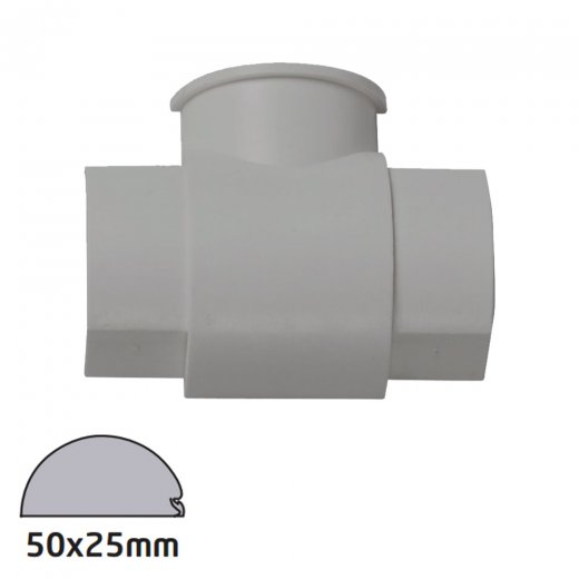 D-Line Semi-circular Trunking Accessory 50x25mm - Box Adaptor Tee - Aluminium Effect