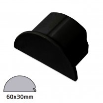 D-Line Semi-circular Trunking Accessory 60x30mm - End Cap - Black