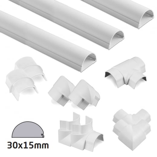 D-Line White Semi-circular Trunking 30x15mm Kit - 6 Metres with 9 Accessories