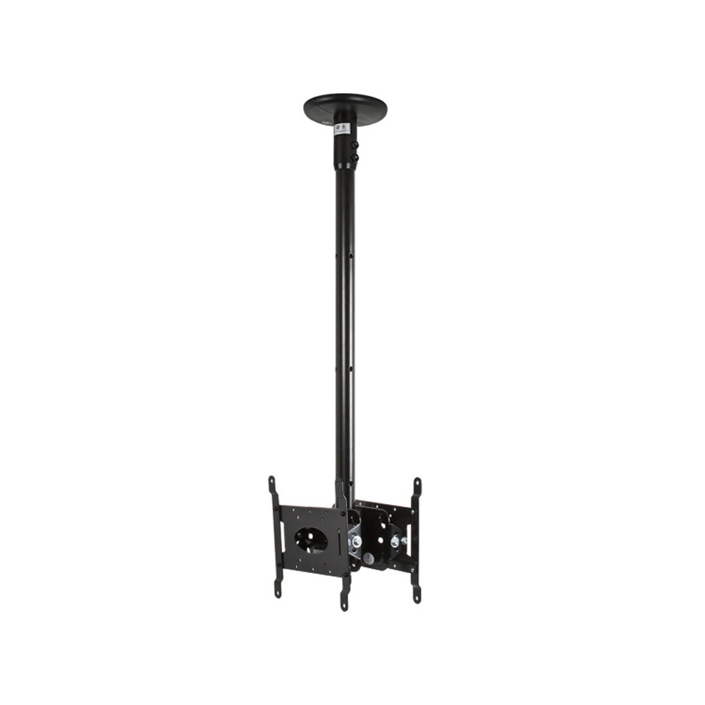 ceiling mount tv b tech back to back flat screen ceiling mount 0 75m pole 10984